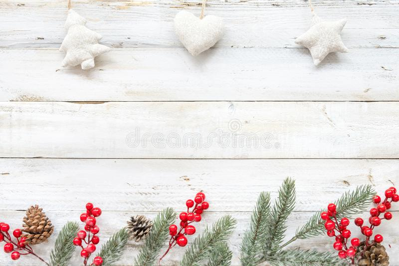 Υπόβαθρο θέματος Χριστουγέννων με τη διακόσμηση στοκ εικόνα