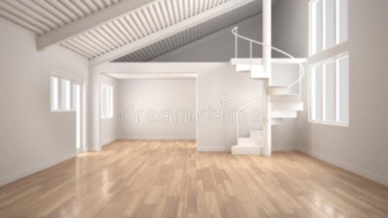 Υπόβαθρο θαμπάδων, άσπρος σύγχρονος κενός εσωτερικός, ανοιχτός χώρος με τον ημιώροφο και μινιμαλιστική σπειροειδής σκάλα, σχέδιο  διανυσματική απεικόνιση