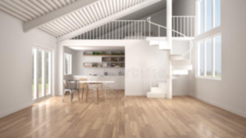 Υπόβαθρο θαμπάδων, μινιμαλιστικός ανοιχτός χώρος, άσπρη κουζίνα με τον ημιώροφο και σύγχρονη σπειροειδής σκάλα, σοφίτα με την κρε ελεύθερη απεικόνιση δικαιώματος