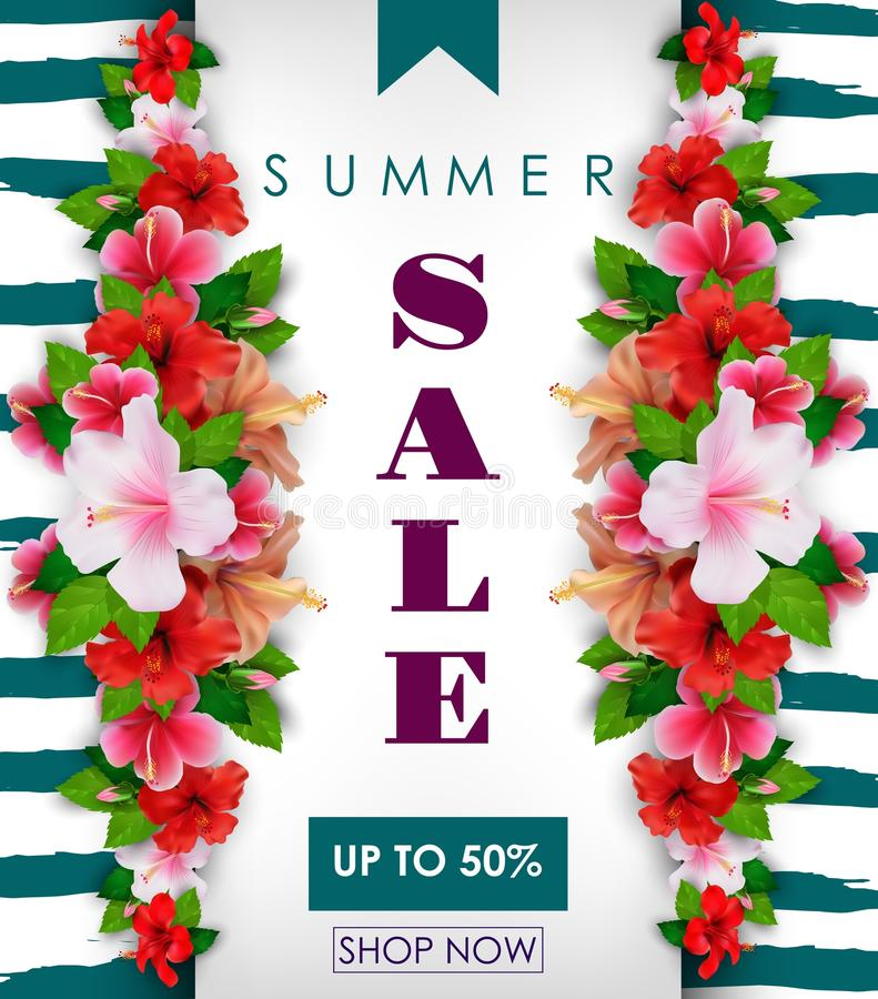 Υπόβαθρο θερινής πώλησης με τα τροπικά λουλούδια Μέχρι 50% απεικόνιση αποθεμάτων