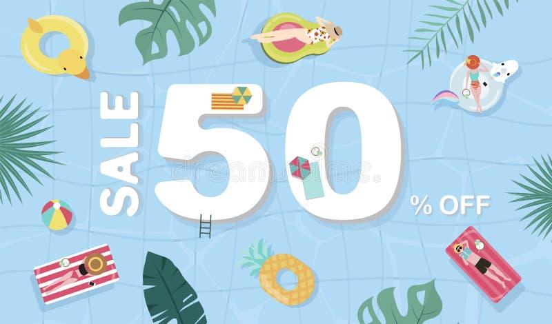Υπόβαθρο θερινής πώλησης με τους μικροσκοπικούς ανθρώπους, ομπρέλες, σφαίρα, επιπλέον σώμα στη τοπ λίμνη άποψης Διανυσματικό θερι ελεύθερη απεικόνιση δικαιώματος
