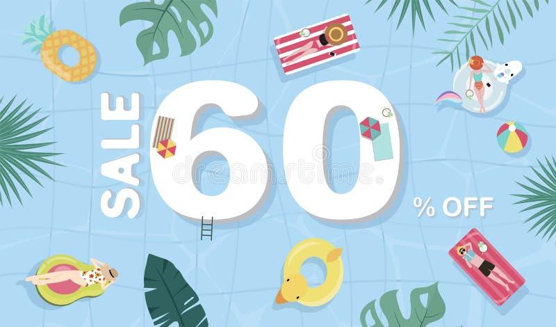 Υπόβαθρο θερινής πώλησης με τους μικροσκοπικούς ανθρώπους, ομπρέλες, σφαίρα, επιπλέον σώμα στη τοπ λίμνη άποψης Διανυσματικό θερι διανυσματική απεικόνιση