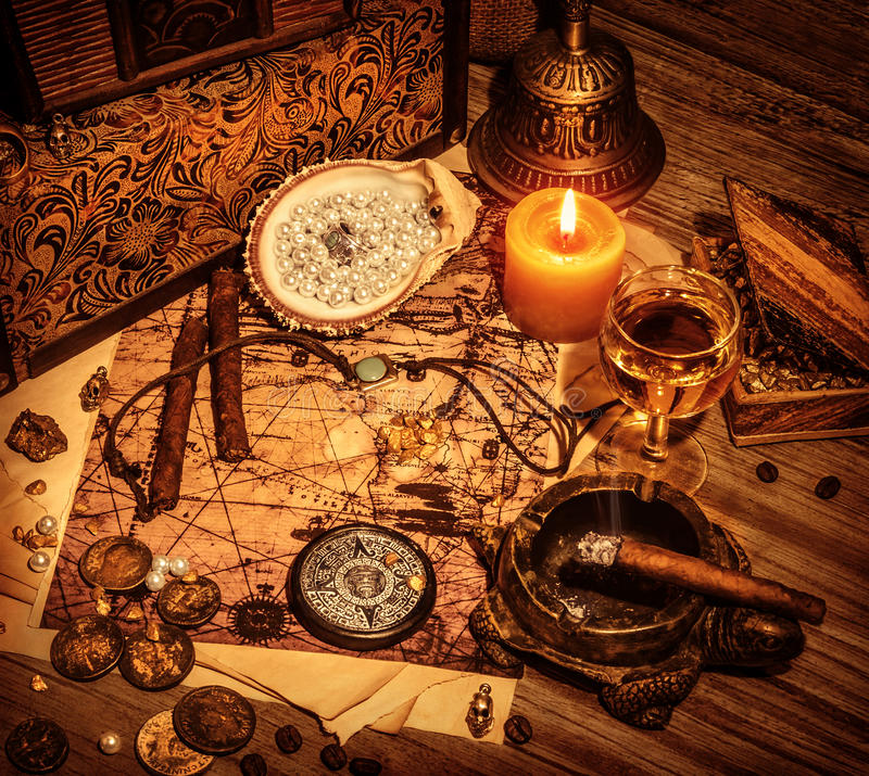 Υπόβαθρο θησαυρών πειρατών στοκ φωτογραφία