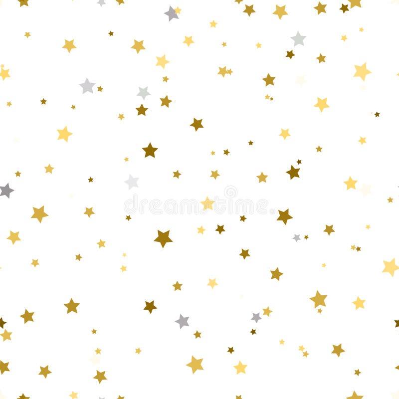 Υπόβαθρο διακοπών, άνευ ραφής σχέδιο με τα αστέρια Χρυσός και ασήμι ελεύθερη απεικόνιση δικαιώματος