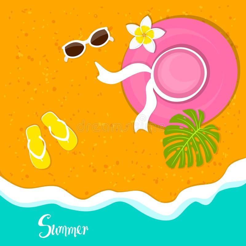 Υπόβαθρο διακοπών διακοπών παραλιών θερινού χρόνου με το καπέλο γυναικών, γυαλιά ηλίου, λουλούδι plumeria ελεύθερη απεικόνιση δικαιώματος