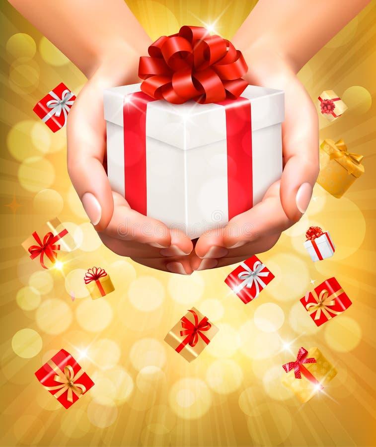 Υπόβαθρο διακοπών με τα χέρια που κρατά τα κιβώτια δώρων διανυσματική απεικόνιση