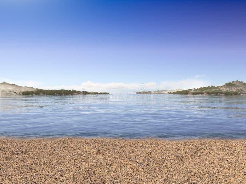Υπόβαθρο διακοπών με την παραλία και τα θαλασσινά κοχύλια θάλασσας στοκ φωτογραφίες