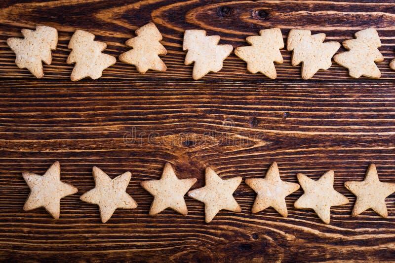 Υπόβαθρο διακοπών Χριστουγέννων με τα μπισκότα στοκ φωτογραφία με δικαίωμα ελεύθερης χρήσης
