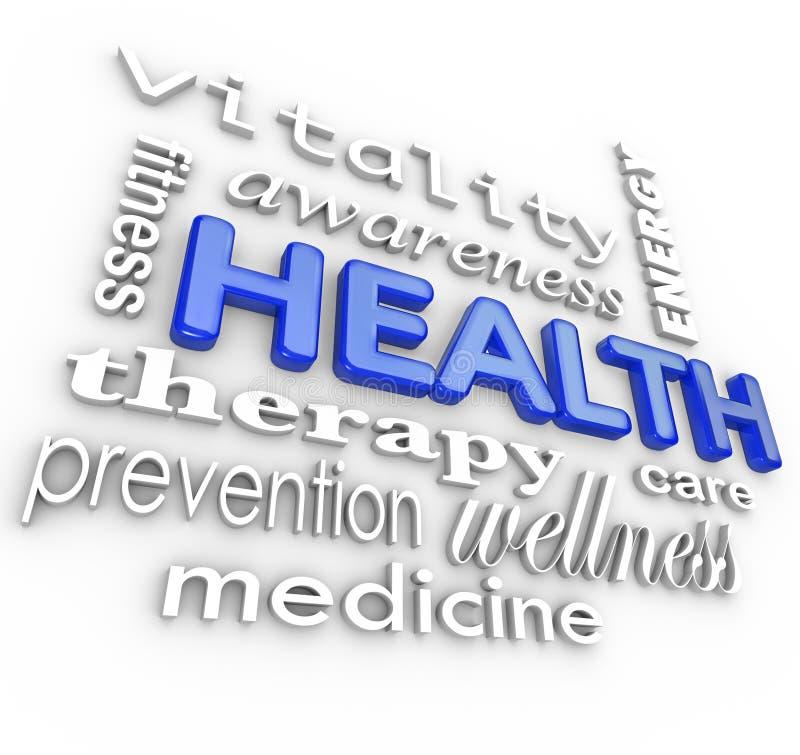 Υπόβαθρο ιατρικής λέξεων κολάζ υγειονομικής περίθαλψης διανυσματική απεικόνιση