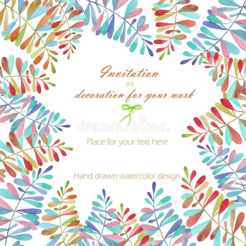 Υπόβαθρο, κάρτα προτύπων με μια floral διακόσμηση των πολύχρωμων φύλλων watercolor και των κλάδων, χέρι που σύρεται σε μια κρητιδ διανυσματική απεικόνιση