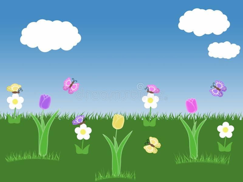 Υπόβαθρο κήπων άνοιξη με τουλιπών πεταλούδων μπλε ουρανού την πράσινη απεικόνιση λουλουδιών και σύννεφων χλόης άσπρη απεικόνιση αποθεμάτων