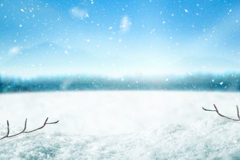 Υπόβαθρο και δέντρο χιονιού Χειμερινό σκηνικό με το φως του ήλιου στο χρόνο πρωινού Χαρούμενα Χριστούγεννα και καλή χρονιά στοκ φωτογραφία με δικαίωμα ελεύθερης χρήσης