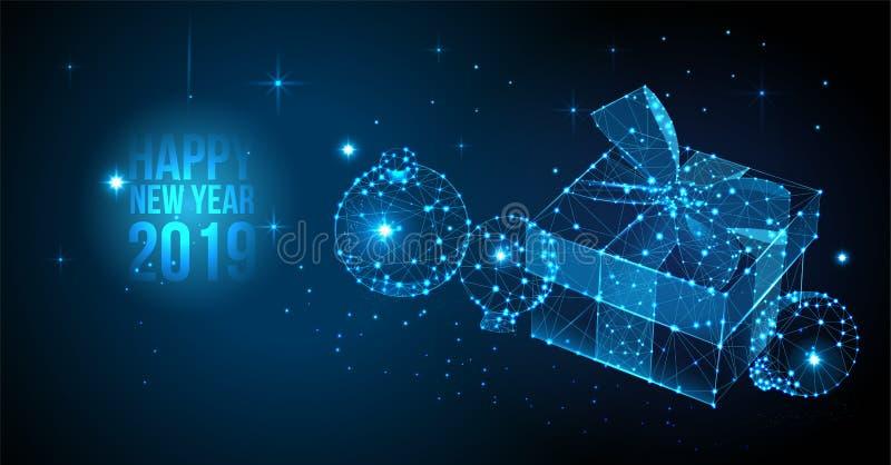 2019 υπόβαθρο καλής χρονιάς Διανυσματικό έμβλημα χαιρετισμού με τις σφαίρες κιβωτίων και Χριστουγέννων δώρων Νέα τρισδιάστατη απε διανυσματική απεικόνιση