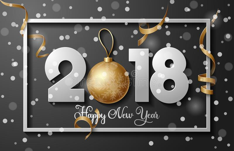2018 υπόβαθρο καλής χρονιάς με το χρυσά μπιχλιμπίδι σφαιρών Χριστουγέννων και τα στοιχεία λωρίδων διανυσματική απεικόνιση