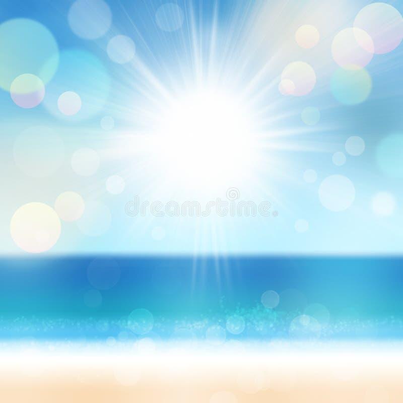 Υπόβαθρο καλοκαιρινών διακοπών με τον ωκεάνιους ήλιο και τον ουρανό θάλασσας παραλιών άμμου στοκ εικόνες