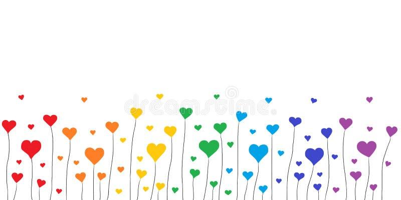 Υπόβαθρο καρδιών ουράνιων τόξων διανυσματική απεικόνιση