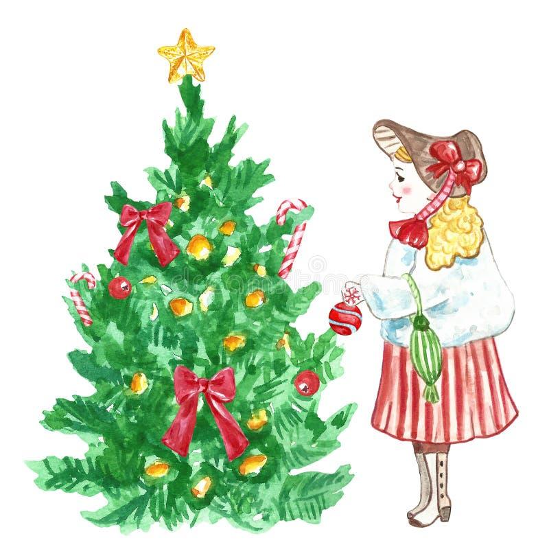 Υπόβαθρο καρτών Χριστουγέννων και του νέου έτους με το κορίτσι που διακοσμεί ένα χριστουγεννιάτικο δέντρο διανυσματική απεικόνιση