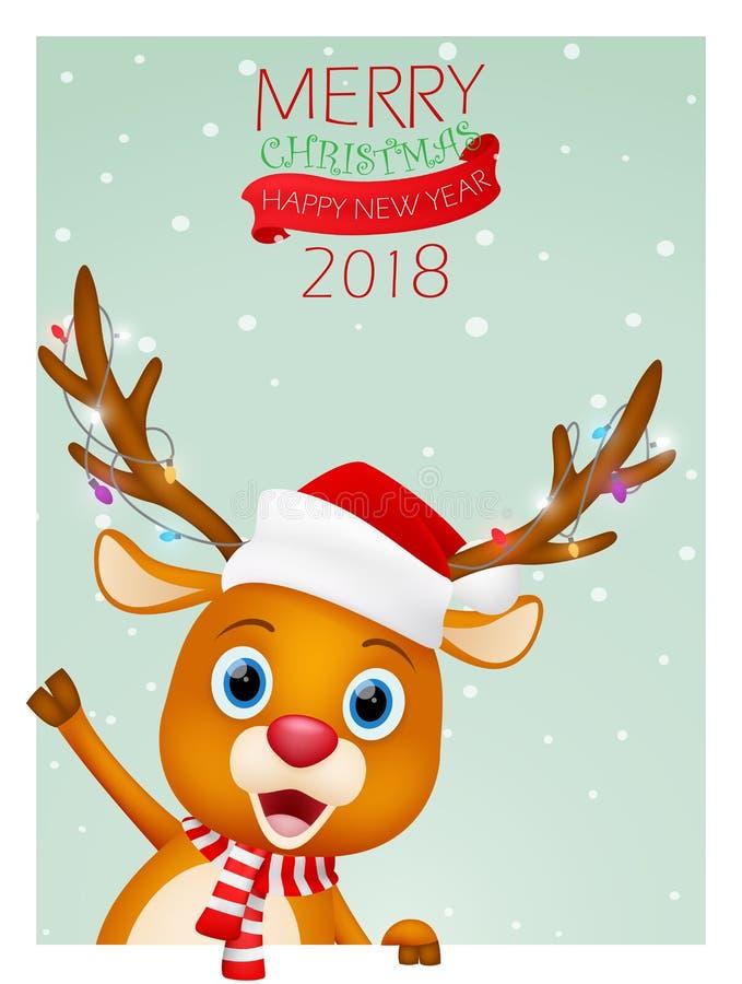 Υπόβαθρο καρτών Χριστουγέννων με το χαριτωμένο τάρανδο ελεύθερη απεικόνιση δικαιώματος