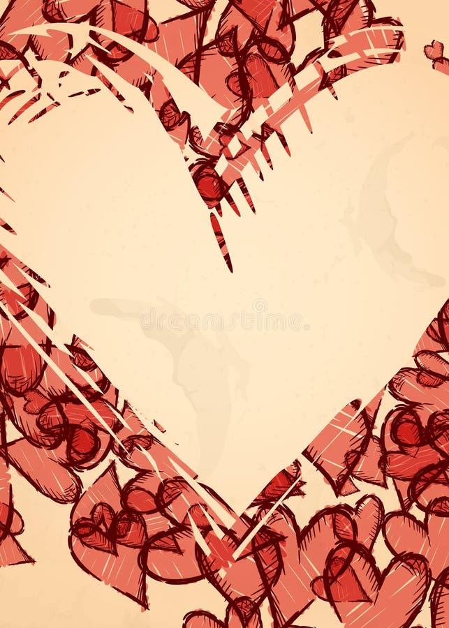 Υπόβαθρο καρδιών Grunge. διανυσματική απεικόνιση