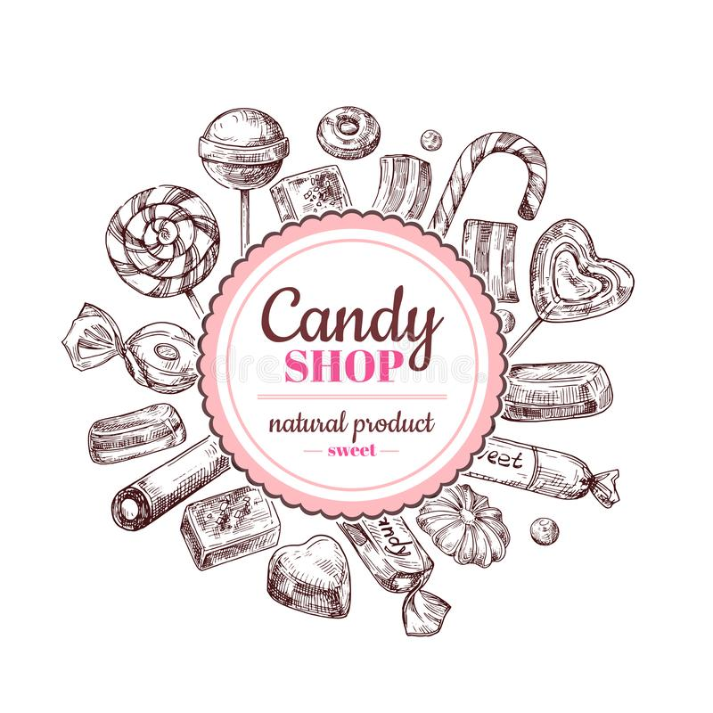 Υπόβαθρο καταστημάτων καραμελών Καραμέλα σοκολάτας σκίτσων, lollipop και γλυκά μαρμελάδας, συρμένη χέρι διανυσματική ετικέτα ελεύθερη απεικόνιση δικαιώματος