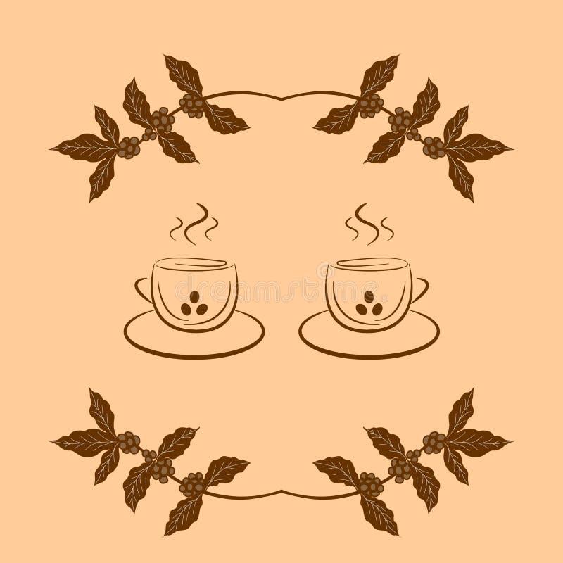 Υπόβαθρο καφέ με τον κλάδο του καφέ και των φλυτζανιών καφέ ελεύθερη απεικόνιση δικαιώματος