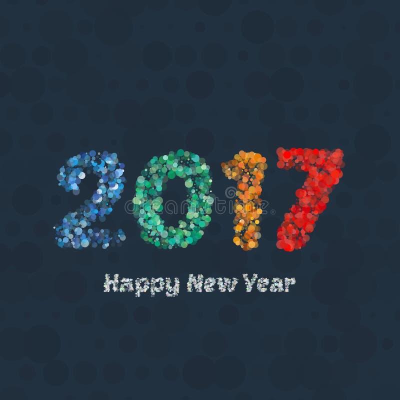 Υπόβαθρο καλής χρονιάς 2017 Ημερολογιακή διακόσμηση χαιρετισμός καλή χρονιά καρτών του 2007 Κινεζικό ημερολογιακό πρότυπο για το  απεικόνιση αποθεμάτων
