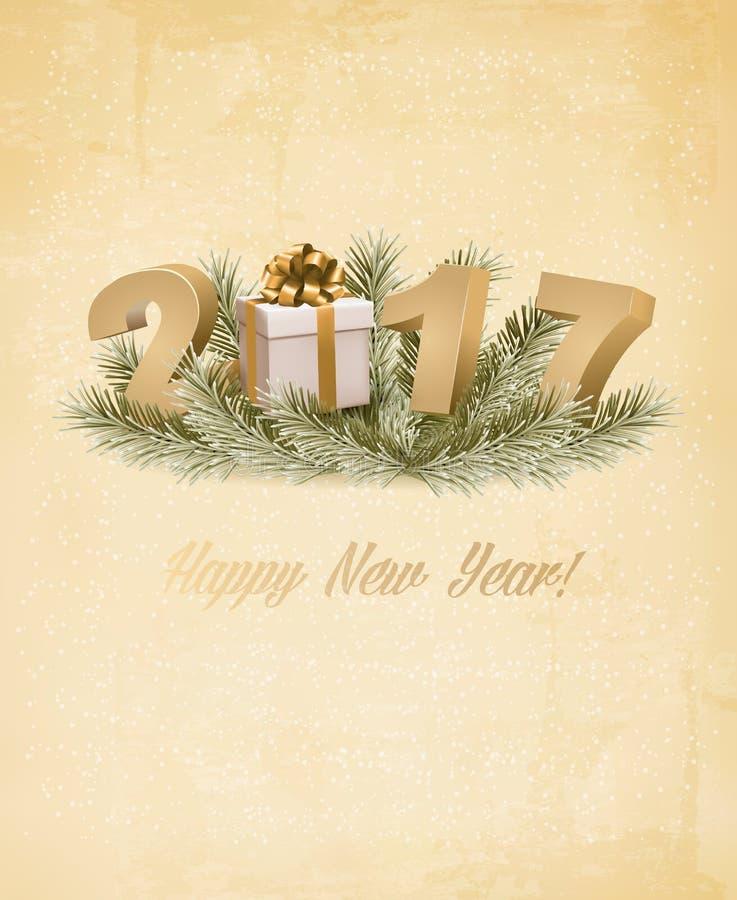 Υπόβαθρο καλής χρονιάς 2017 με ένα κιβώτιο δώρων διανυσματική απεικόνιση