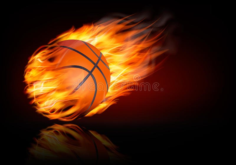 Υπόβαθρο καλαθοσφαίρισης με μια φλεμένος σφαίρα διανυσματική απεικόνιση