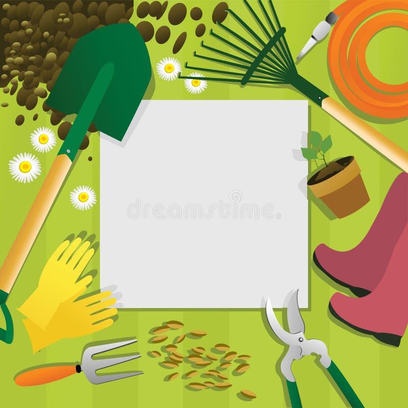 Υπόβαθρο κηπουρικής με τα εργαλεία κήπων ελεύθερη απεικόνιση δικαιώματος