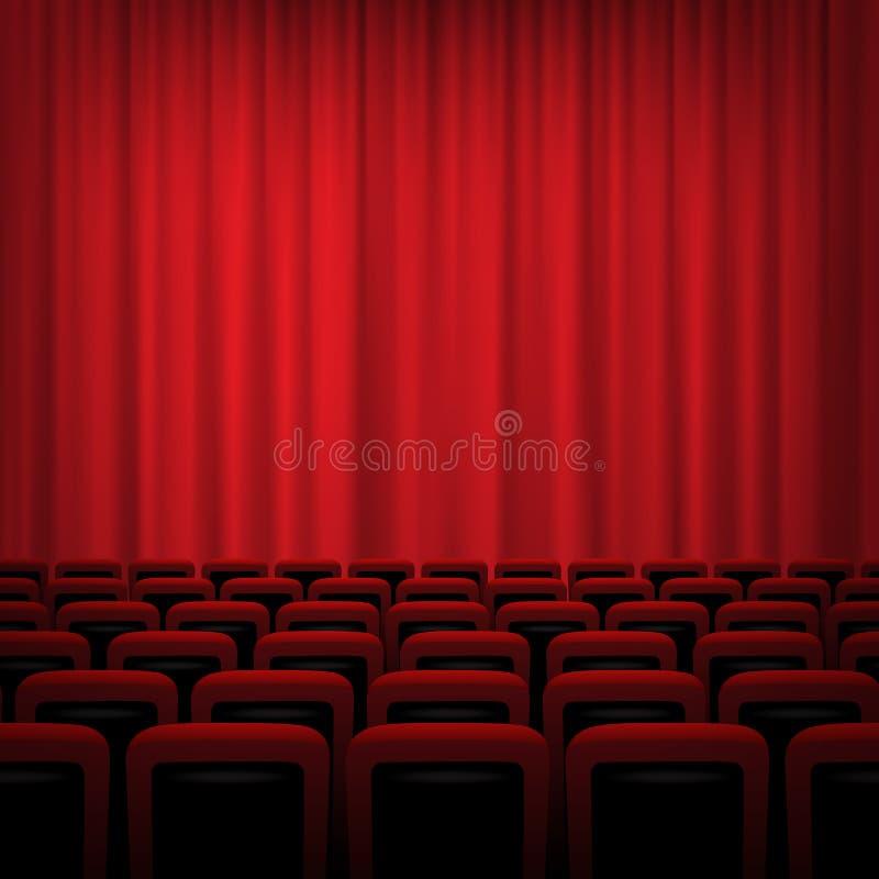 Υπόβαθρο κινηματογράφων με τις κόκκινες κουρτίνες και τις καρέκλες επίσης corel σύρετε το διάνυσμα απεικόνισης απεικόνιση αποθεμάτων