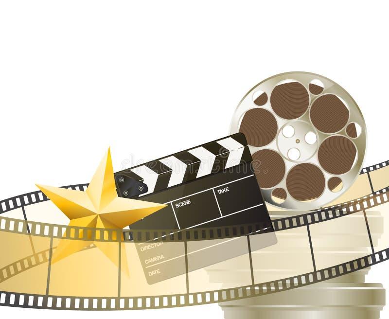 Υπόβαθρο κινηματογράφων με το αναδρομικά filmstrip, clapper και το αστέρι διανυσματική απεικόνιση