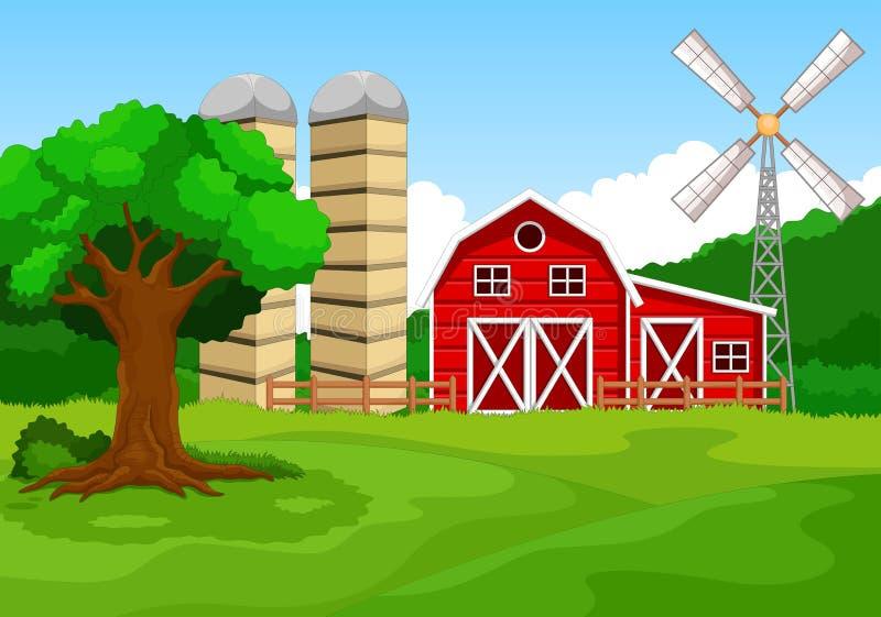 Υπόβαθρο κινούμενων σχεδίων αγροτικού κτηρίου ελεύθερη απεικόνιση δικαιώματος
