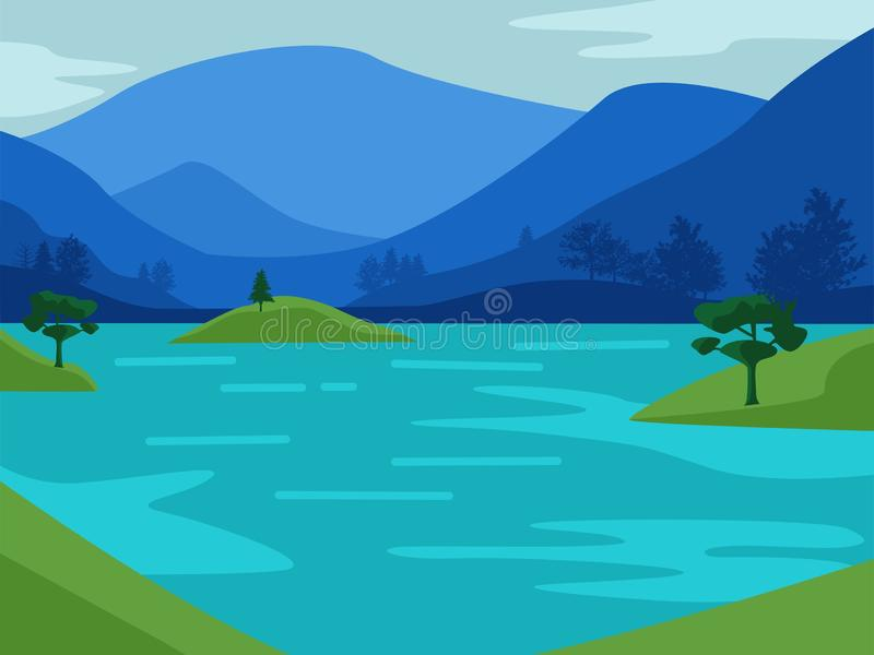 Υπόβαθρο κινούμενων σχεδίων με την απεικόνιση απόψεων βουνών και παραλιών ελεύθερη απεικόνιση δικαιώματος