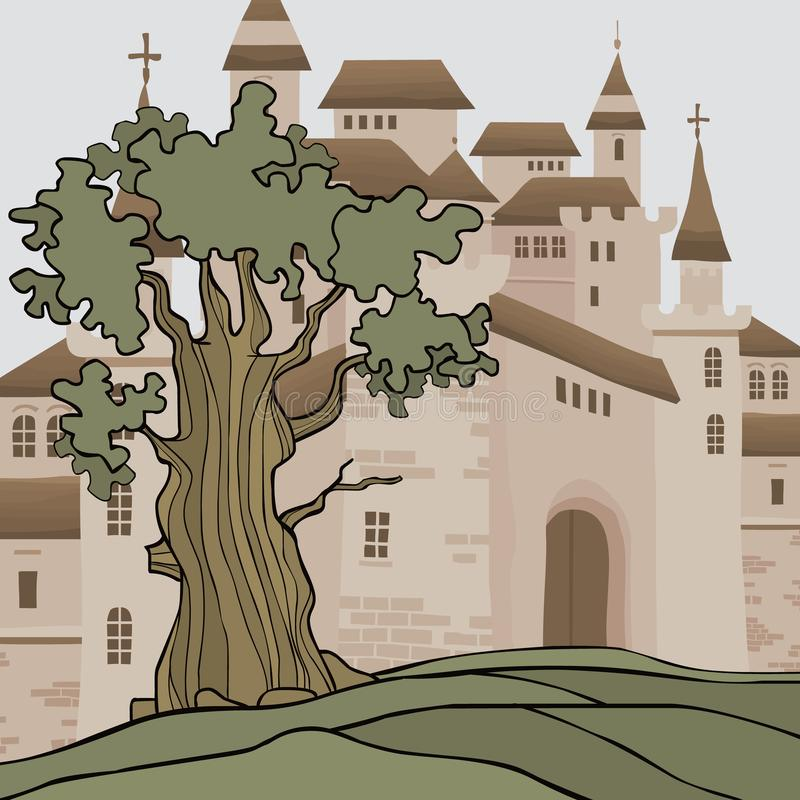 Υπόβαθρο κινούμενων σχεδίων με το κάστρο με πολλούς πύργους ελεύθερη απεικόνιση δικαιώματος