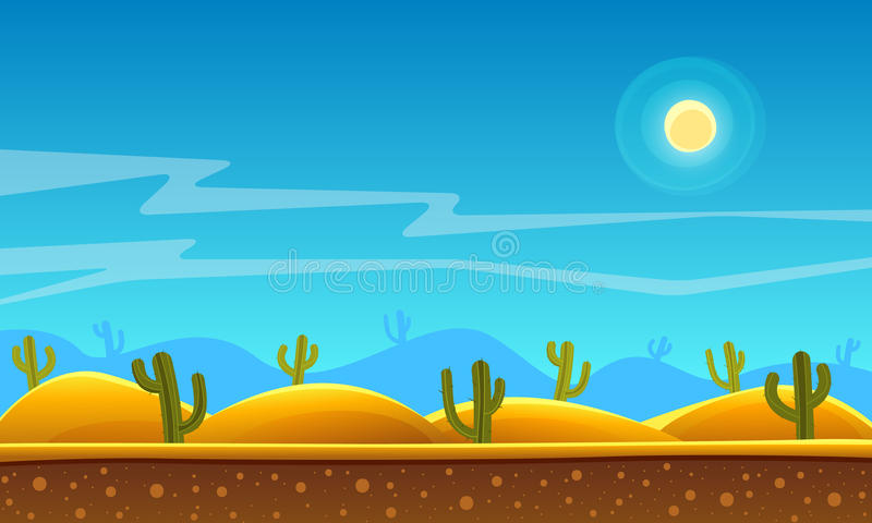 Υπόβαθρο κινούμενων σχεδίων ερήμων διανυσματική απεικόνιση