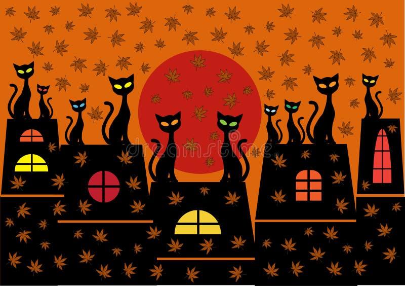 Υπόβαθρο κινούμενων σχεδίων με τις γάτες διανυσματική απεικόνιση