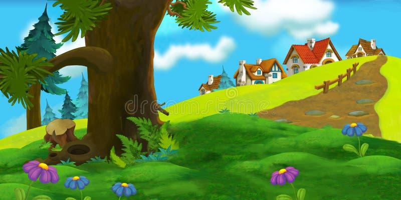 Download Υπόβαθρο κινούμενων σχεδίων του παλαιού χωριού Απεικόνιση αποθεμάτων - εικονογραφία από παιδιά, πράσινος: 62702540