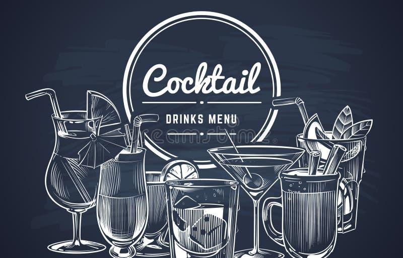 Υπόβαθρο κοκτέιλ σκίτσων Συρμένα τα χέρι κοκτέιλ οινοπνεύματος πίνουν τις επιλογές φραγμών, κρύα ποτά εστιατορίων κατανάλωσης καθ διανυσματική απεικόνιση
