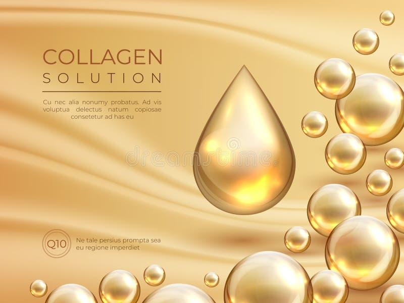 Υπόβαθρο κολλαγόνων Καλλυντικό έμβλημα αγγελιών φροντίδας δέρματος, ουσία ομορφιάς και έννοια μασκών προσώπου πολυτέλειας Διανυσμ απεικόνιση αποθεμάτων