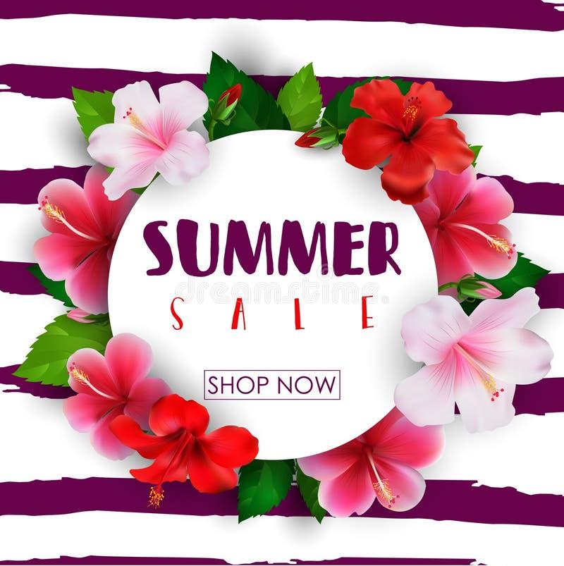 Υπόβαθρο κύκλων θερινής πώλησης με τα τροπικά λουλούδια ελεύθερη απεικόνιση δικαιώματος