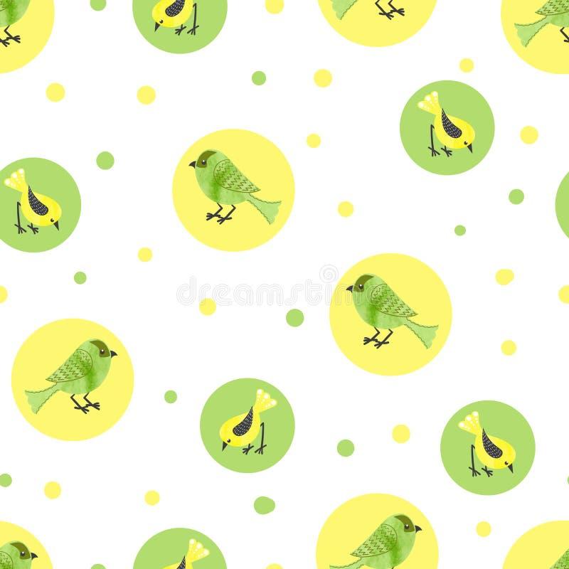 Υπόβαθρο κύκλων με τα πουλιά watercolor απεικόνιση αποθεμάτων