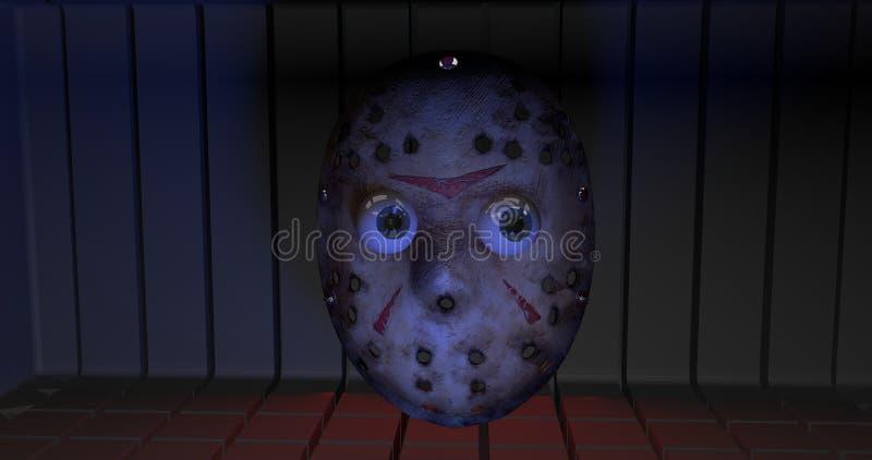Υπόβαθρο με μια μάσκα χόκεϋ φρίκης απεικόνιση αποθεμάτων