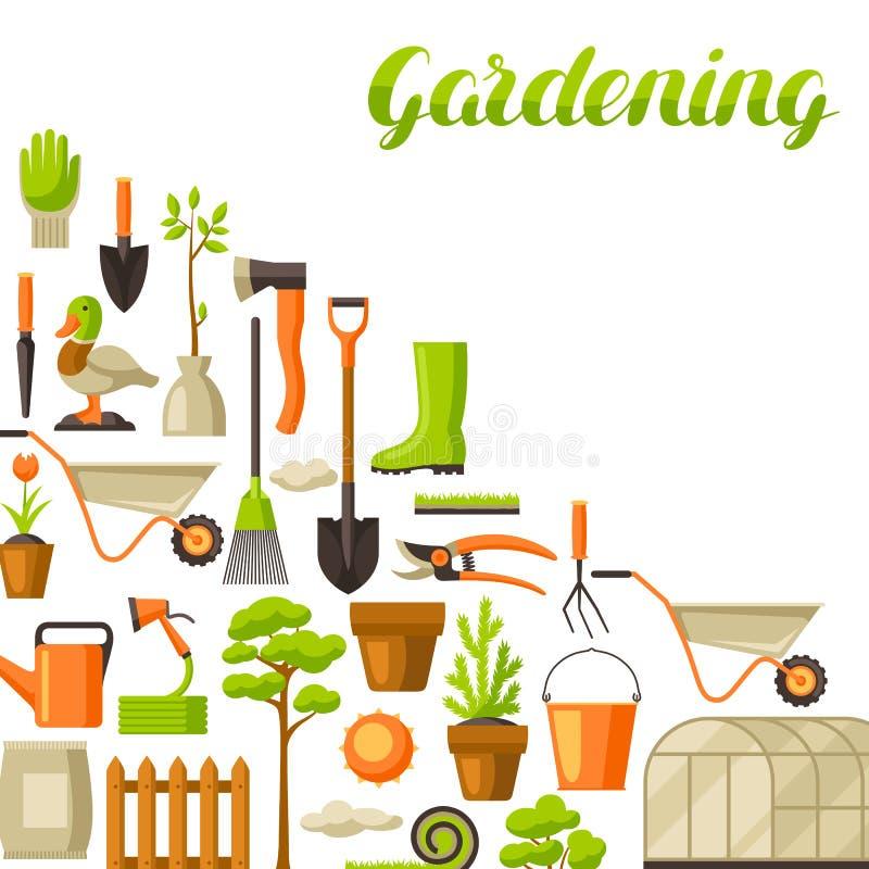 Υπόβαθρο με τα εργαλεία και τα στοιχεία κήπων Απεικόνιση κηπουρικής εποχής ελεύθερη απεικόνιση δικαιώματος