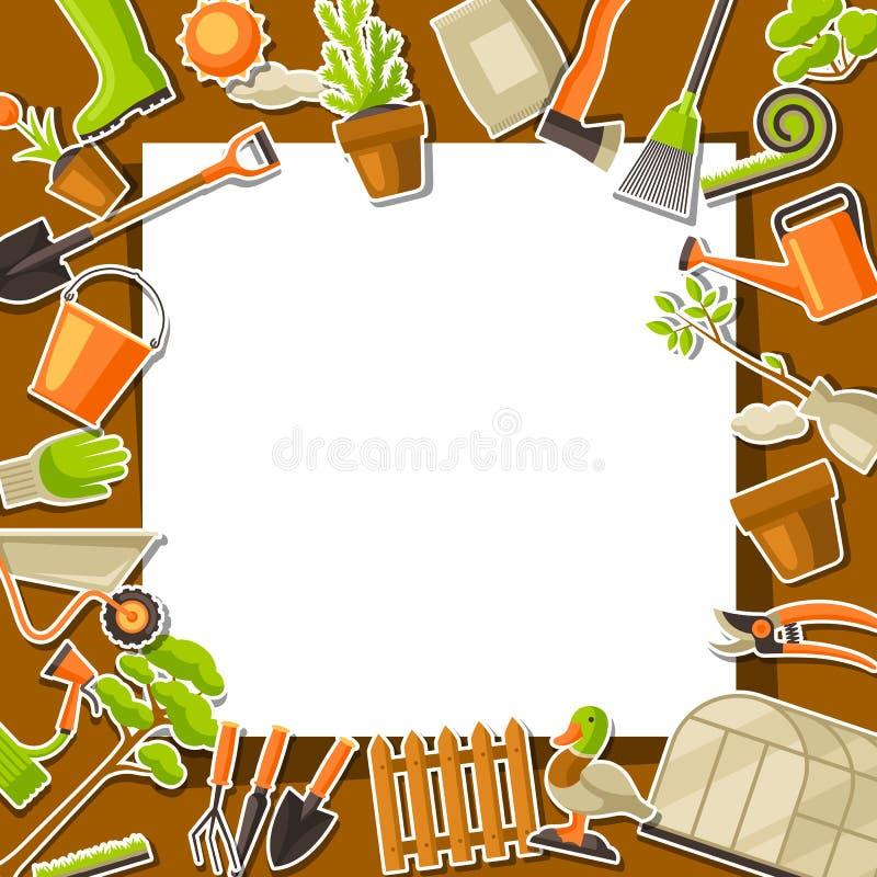 Υπόβαθρο με τα εργαλεία και τα στοιχεία κήπων Απεικόνιση κηπουρικής εποχής διανυσματική απεικόνιση