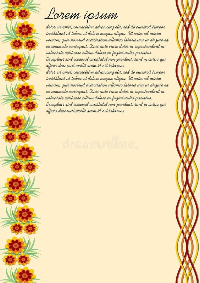 Υπόβαθρο με τα ζωηρόχρωμα σχέδια λουλουδιών στην άκρη Σχεδιασμένος ως παλαιό μπεζ έγγραφο, άφησε τα σχέδια κυμάτων στα ίδια χρώμα απεικόνιση αποθεμάτων