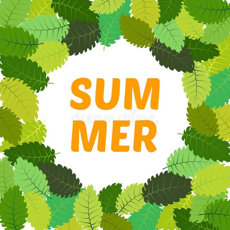 Υπόβαθρο με τα θερινά φύλλα με το καλοκαίρι επιγραφής στο κέντρο ελεύθερη απεικόνιση δικαιώματος