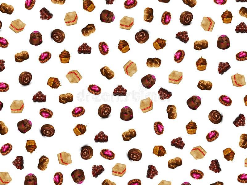 Υπόβαθρο με τα κέικ σοκολάτας στοκ εικόνα με δικαίωμα ελεύθερης χρήσης