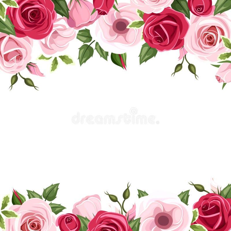 Υπόβαθρο με τα κόκκινα και ρόδινα τριαντάφυλλα και τα λουλούδια lisianthus επίσης corel σύρετε το διάνυσμα απεικόνισης απεικόνιση αποθεμάτων