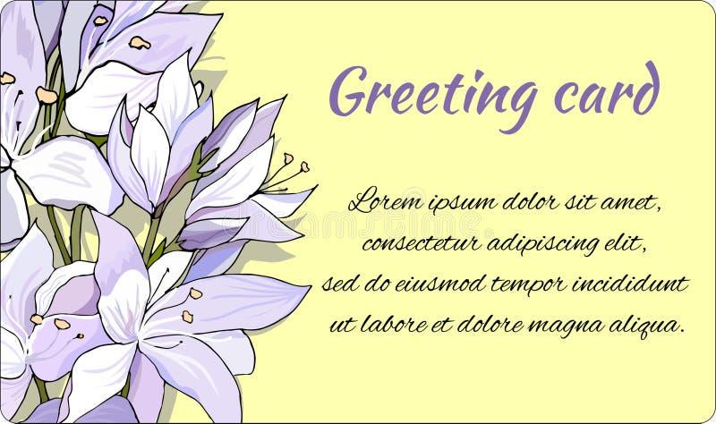 Υπόβαθρο με τα λεπτά χρωματισμένα λουλούδια Κομψό πλαίσιο κειμένων Λουλούδια άνοιξη σε ένα κίτρινο υπόβαθρο r απεικόνιση αποθεμάτων