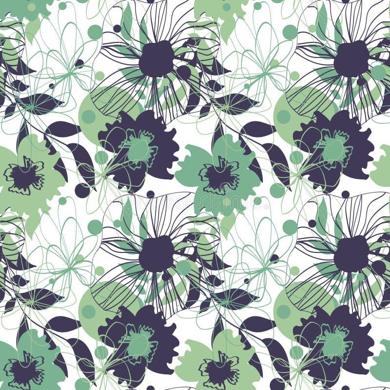 Υπόβαθρο με τα λουλούδια στους πράσινους τόνους απεικόνιση αποθεμάτων